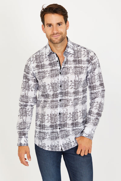 Roy Design Long Sleeve Button Up Shirt Blanc