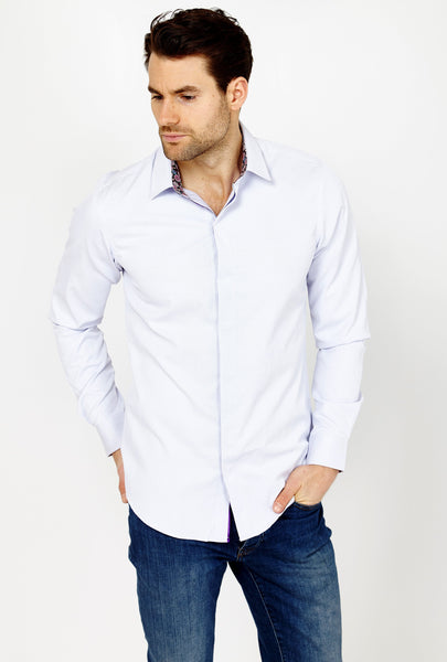 Sacha Lilac Long Sleeve Button Up Shirt Blanc