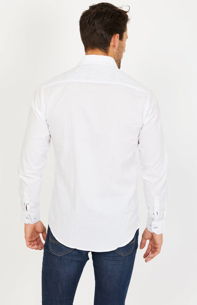 Tom White Long Sleeve Button Up Shirt Blanc