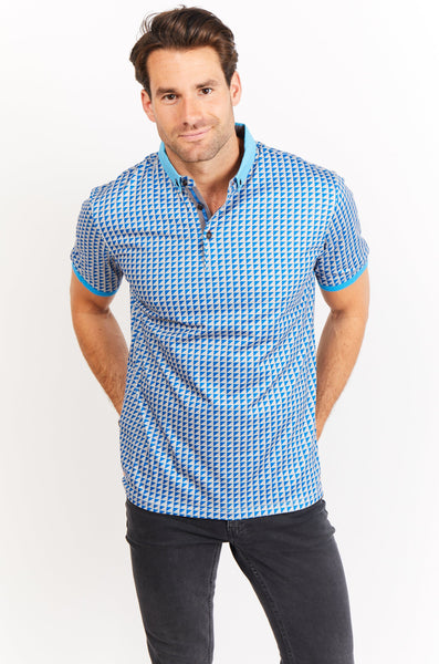 Victor Grey Blue Short Sleeve Polo Shirt Blanc