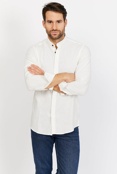 Wyatt Pearl White Long Sleeve Button Up Shirt Blanc