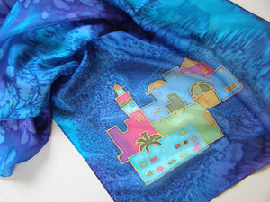 Hand Painted Sky of Jerusalem Silk scarf in Blue Shades, Jewish anniversary