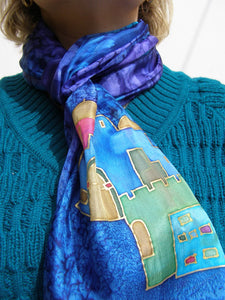 Hand Painted Sky of Jerusalem Silk scarf in Blue Shades