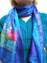 Load image into Gallery viewer, Hand Painted Sky of Jerusalem Silk scarf in Blue Shades