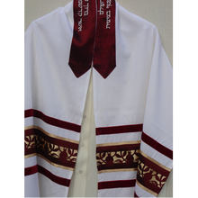 Load image into Gallery viewer, Galilee Silks Dark Red Pomegranate Tallit for men, bar mitzvah tallit