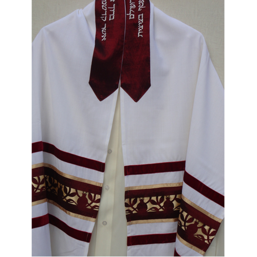 Galilee Silks Dark Red Pomegranate Tallit for men
