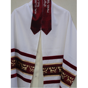 Galilee Silks Dark Red Pomegranate Tallit for men, bar mitzvah tallit