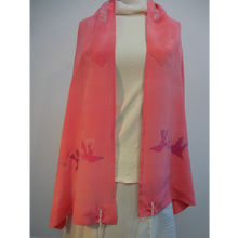 Load image into Gallery viewer, Pink & Peach Woman's Tallit with Drawing of Doves