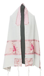 Pink Floral Embroidered feminine Tallit for women