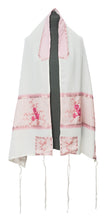 Load image into Gallery viewer, Pink Floral Embroidered feminine Tallit for women set by Galilee Silks Israel