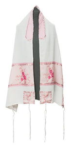 Pink Floral Embroidered feminine Tallit for women set by Galilee Silks Israel