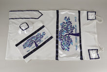 Load image into Gallery viewer, Enchanting Blue Tree of Life Bar Mitzvah Tallit Set
