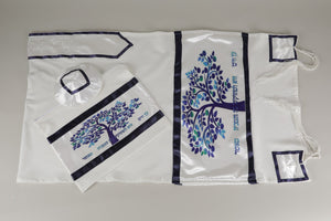 Enchanting Blue Tree of Life Bar Mitzvah Tallit Set