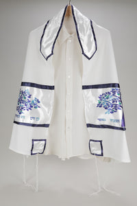 Enchanting Blue Tree of Life Viscose Tallit