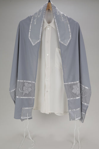 Exclusive elegant Gray floral tallit for Women