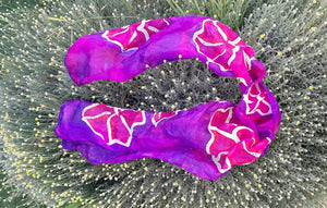 Large Fuchsia Flowers on Purple Hand Painted Silk Scarf, Head Scarf, Gift for Her, Anniversary Gift, Neckerchief bush