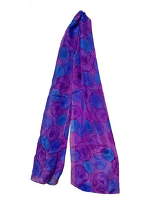 Abstract Purple and Blue Floral Hand Painted Silk Scarf,Head Cover,Head Scarf,Gift for Her,Anniversary Gift,Neckerchief, Gift for Mom