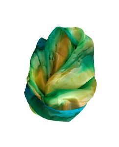 Abstract Green, Yellow & Blue Mix Hand Painted Silk Scarf, Head Cover, Head Scarf, Gift for Her, Anniversary Gift, Headwrap, Neckerchief circle