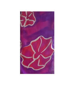 Large Fuchsia Flowers on Purple Hand Painted Silk Scarf, Head Scarf, Gift for Her, Anniversary Gift, Neckerchief pattern