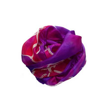 Load image into Gallery viewer, Large Fuchsia Flowers on Purple Hand Painted Silk Scarf, Head Scarf, Gift for Her, Anniversary Gift, Neckerchief circle