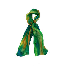 Load image into Gallery viewer, Abstract Green, Yellow & Blue Mix Hand Painted Silk Scarf, Head Cover, Head Scarf, Gift for Her, Anniversary Gift, Headwrap, Neckerchief
