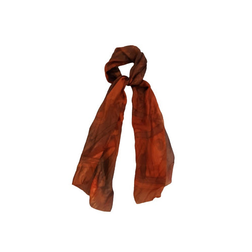 Copper Brown Hand Painted Silk Scarf, Gift For Her, Hand-dyed Silk Head Cover, Mom Gift, Silk Sarong, Headwrap, Neckerchief