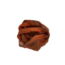 Load image into Gallery viewer, Copper Brown Hand Painted Silk Scarf, Gift For Her, Hand-dyed Silk Head Cover, Mom Gift, Silk Sarong, Headwrap, Neckerchief circle