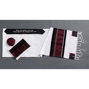 Red Wine Tallit, Bar Mitzvah Tallit, wool tallit set photo from Israel, custom tallit by Galilee Silks
