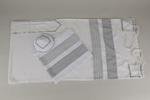 EXCLUSIVE WHITE, GRAY AND SILVER TALLIT