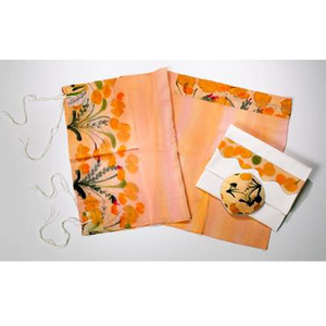 Peach Silk Tallit for Woman, Bat Mitzvah Tallit set, girls tallit, womens tallit by Galilee Silks