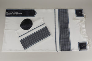 PRESTIGIOUS BLUE AND WHITE STRIPED VISCOSE TALLIT