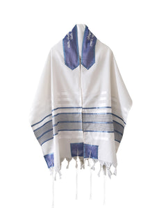 Smoked Blue with Light Blue Stripes Tallit, Bar Mitzvah Tallit