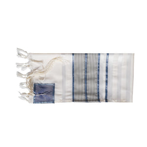 Smoked Blue with Light Blue Stripes Tallit, Bar Mitzvah Tallit flat