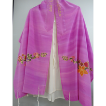 Load image into Gallery viewer, Galilee Silks Flowers and fruit on Pink Tallit for girl