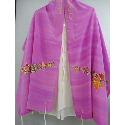 Galilee Silks Flowers and fruit on Pink Tallit for girl