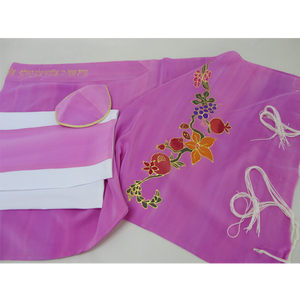 Flowers and fruit on Pink Tallit for girl