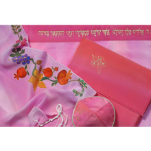 Load image into Gallery viewer, Flowers and fruit on Pink Tallit for girl
