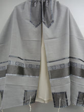 Load image into Gallery viewer, Light Grey Tallit, Bar Mitzvah Tallit Set, Modern Tallit, Contemporary Tallit