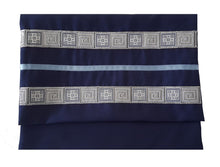 Load image into Gallery viewer, Navy Blue Tallit, Bar Mitzvah Tallit bag, Hebrew Prayer Shawl,