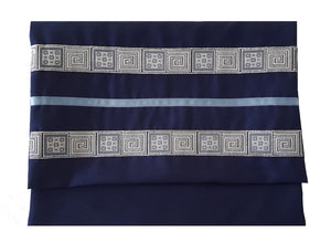 Navy Blue Tallit, Bar Mitzvah Tallit bag, Hebrew Prayer Shawl,