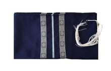 Load image into Gallery viewer, Navy Blue Tallit, Bar Mitzvah Tallit, Hebrew Prayer Shawl,