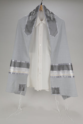 IMPRESSIVE GRAY VISCOSE TALLIT WITH GOLD COLOR