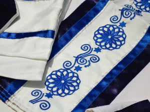 Blue Embroidered Wool Tallit
