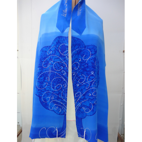 Tree of Life Blue Tallit for women, silk tallit, girls tallit, bat mitzvah tallit