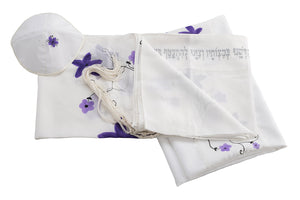 Silk Tallit for girl, flower tallit, purple tallit, Bat Mitzvah Tallit, girls tallit, womens tallit, tallit for bat mitzha,Hand made Tallit set by Galilee Silks