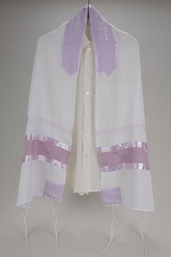 VIOLET SHEER PRAYER SHAWL WITH FLORAL DECORATION