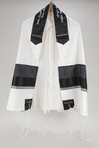 STUNNING VISCOSE OFF-WHITE AND BLACK PRAYER SHAWL