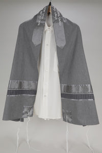 DISTINGUISHED GRAY VISCOSE TALLIT WITH SILVER TRIMMING