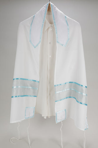 SHEER FABRIC PRAYER SHAWL WITH TEAL COL0RED ELEMENTS