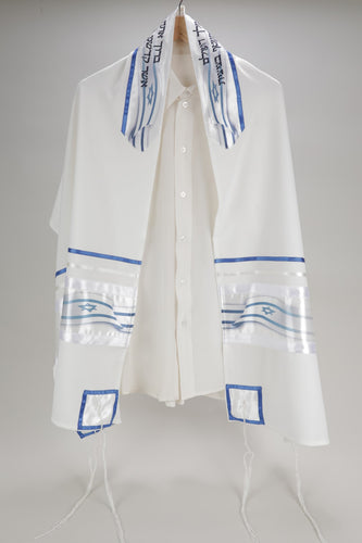 BELOVED STARS OF DAVID DECORATION ON VISCOSE TALLIT, Aliyah Tallit for men, wool tallit, modern tallit, bar mitzvah tallit by Galilee silks